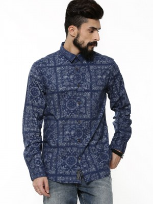 Buy POE Paisley Print Shirt For Men - Men's Blue Casual Shirts ...