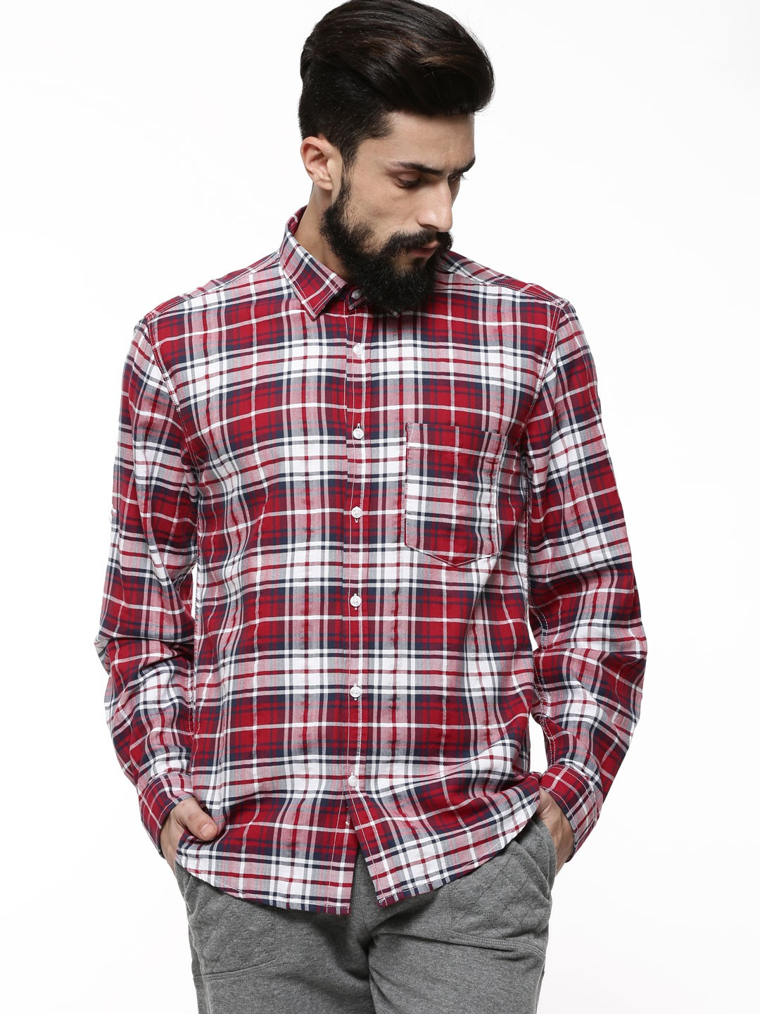 Buy VOI JEANS Premium Brushed Check Shirt For Men - Men's Red ...