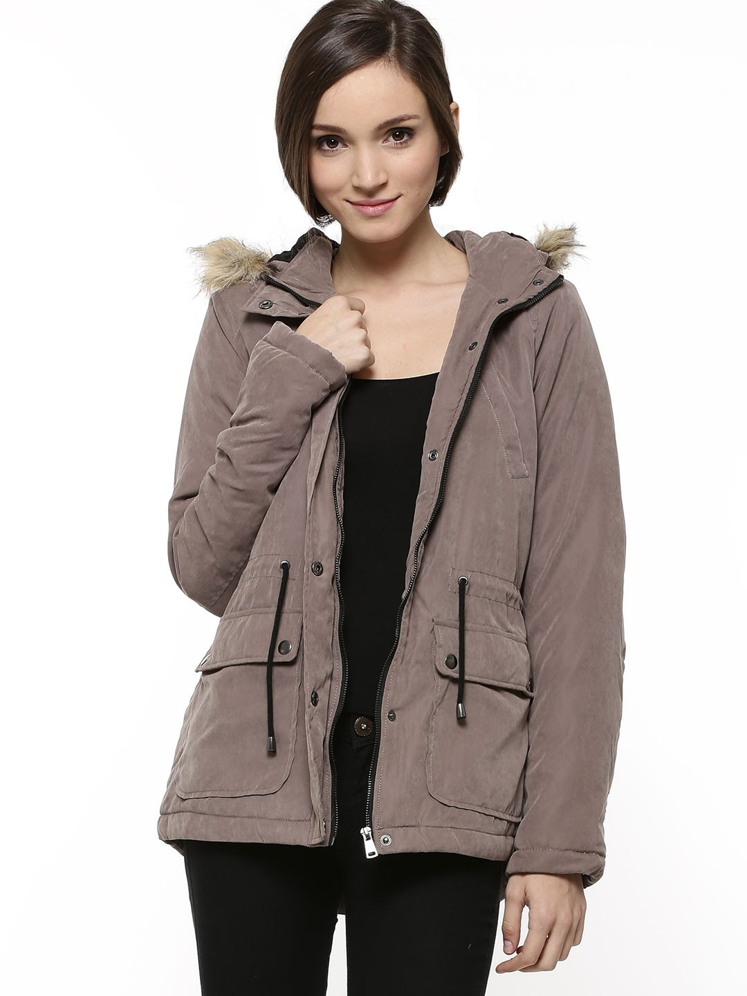 Buy J.D.Y Fur Collar Parka Coat For Women - Women's Grey Coats ...