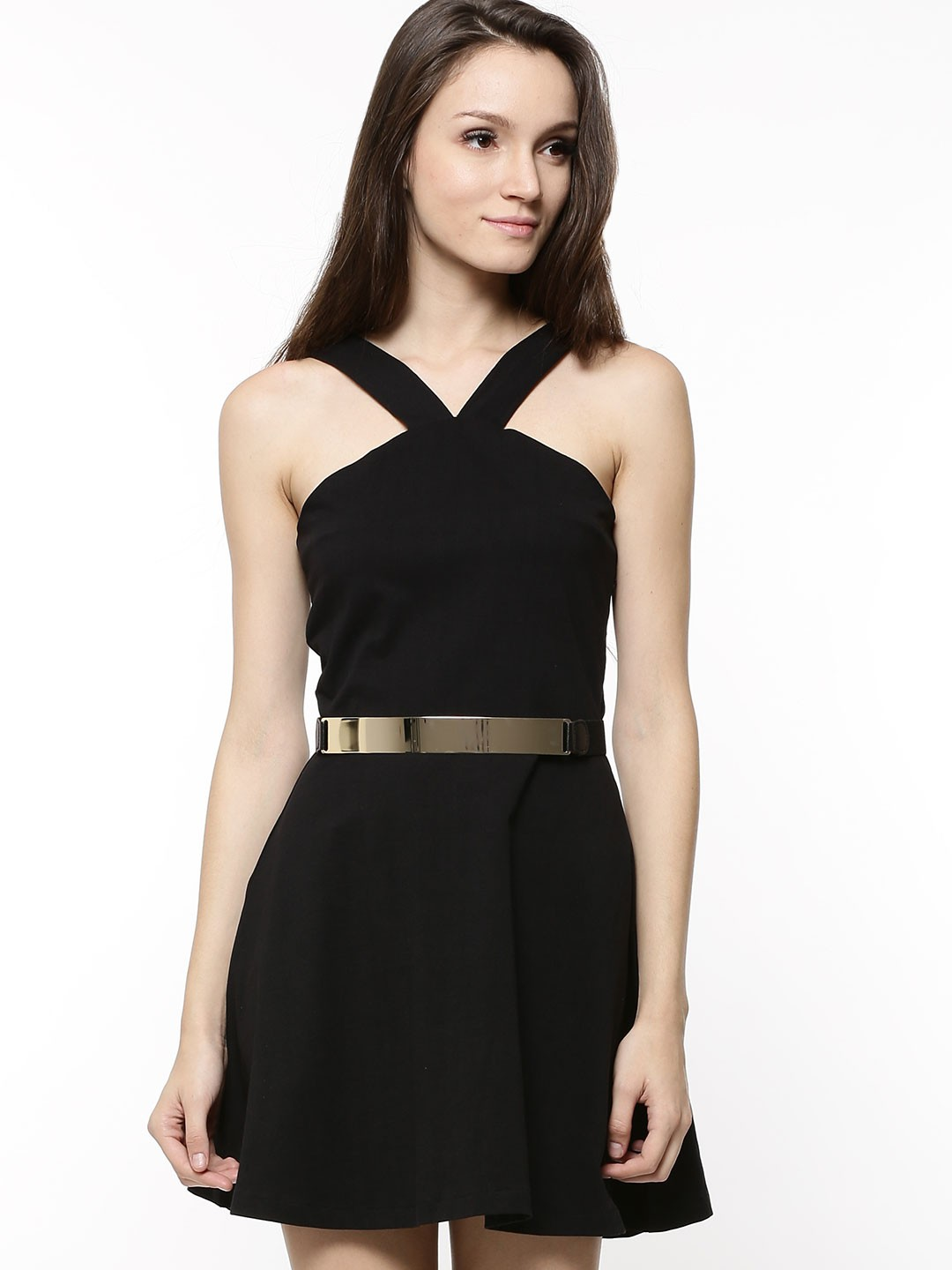 Black dress gold belt - Faballey Strappy Dress With Gold Belt