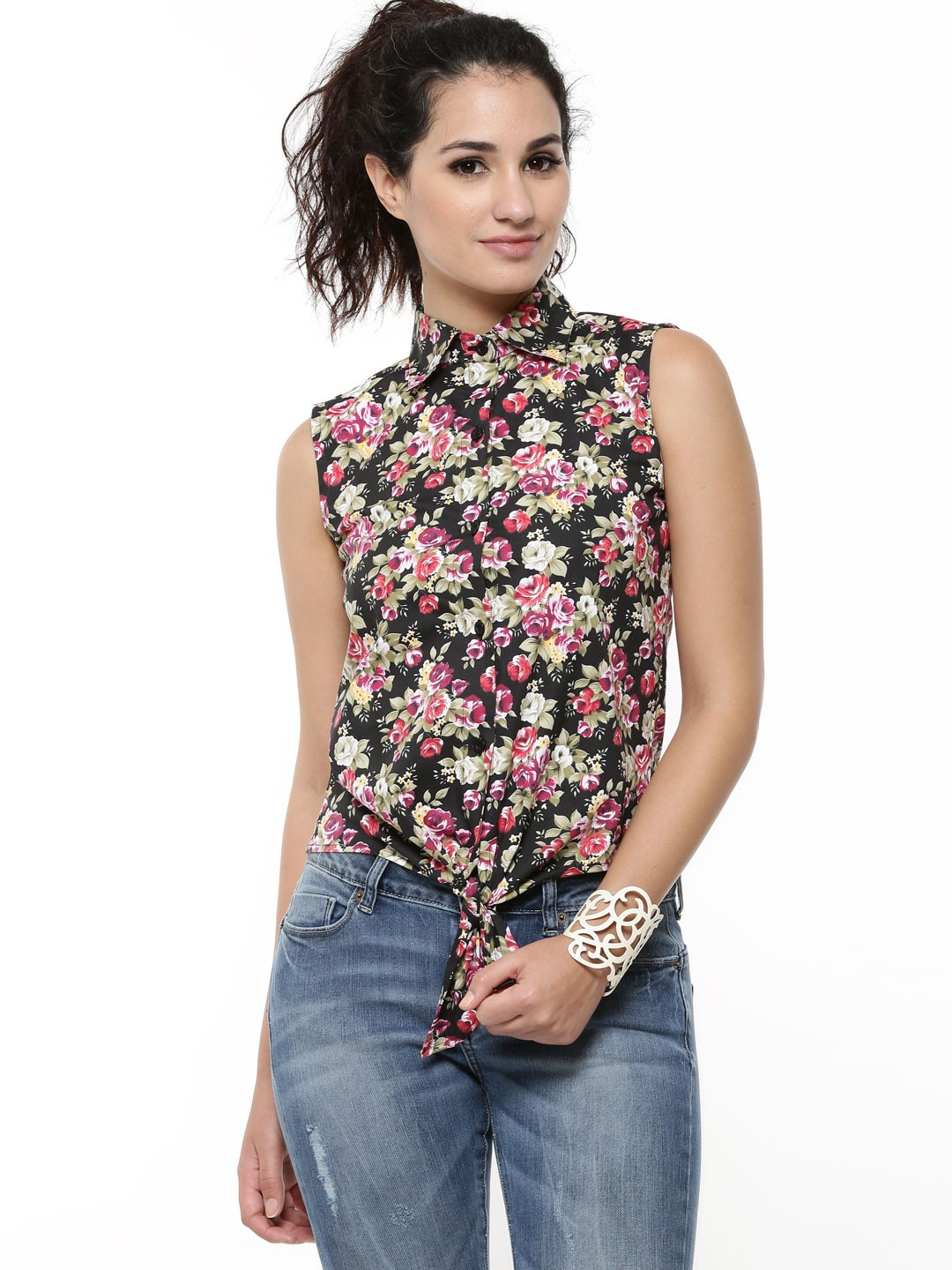 Buy Faballey Knotted Shirt In Floral Print For Women