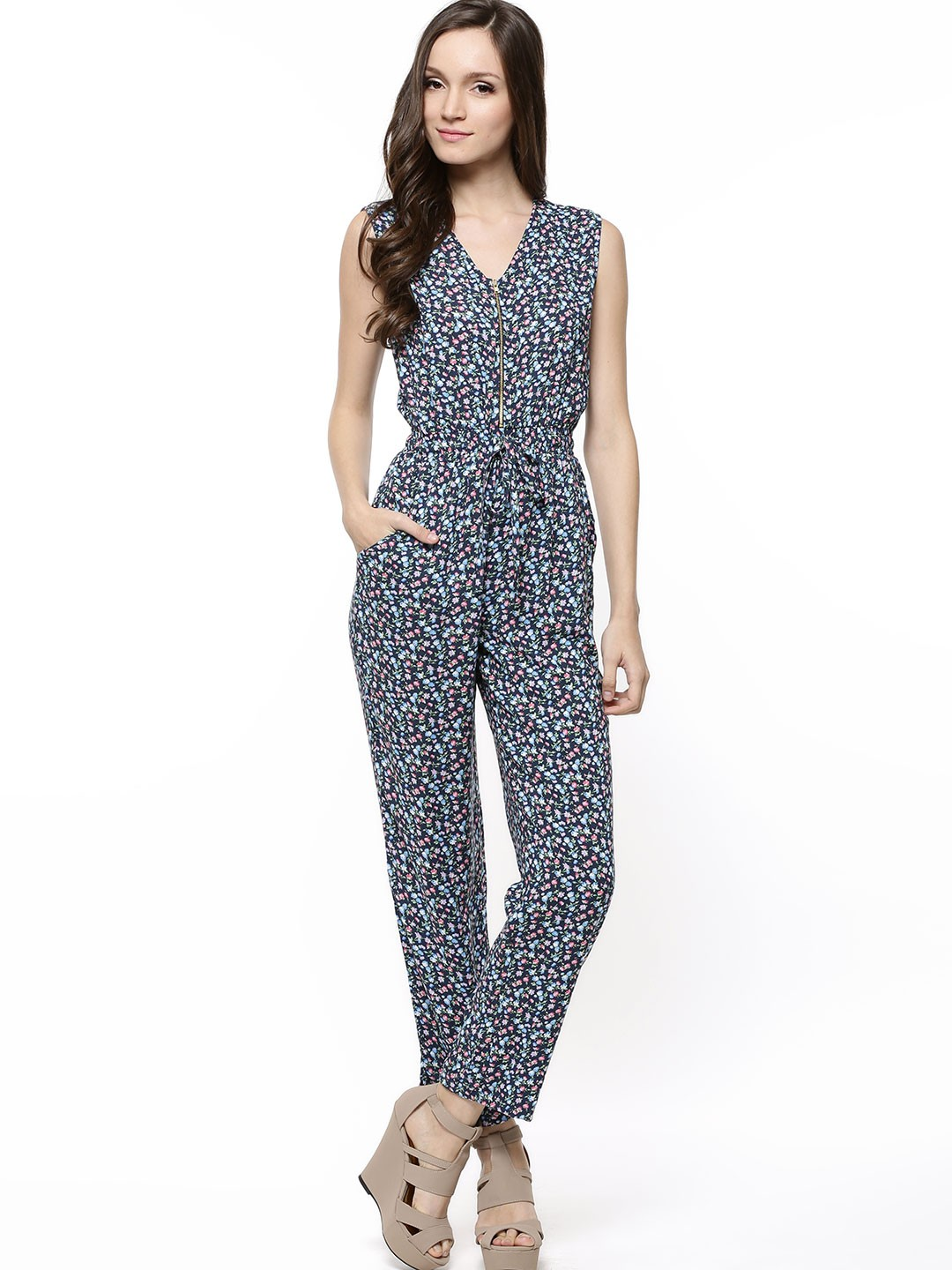 Buy FABALLEY Printed Jumpsuit For Women - Womenu0026#39;s Blue Jumpsuits Online In India