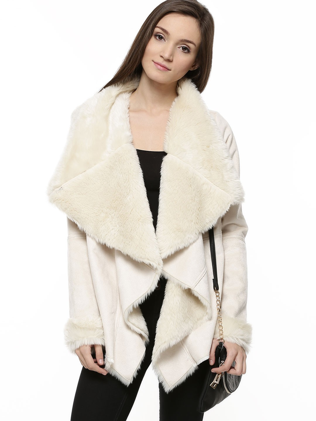 Buy OASIS Shearling Drape Jacket For Women - Women's Ivory Jackets ...