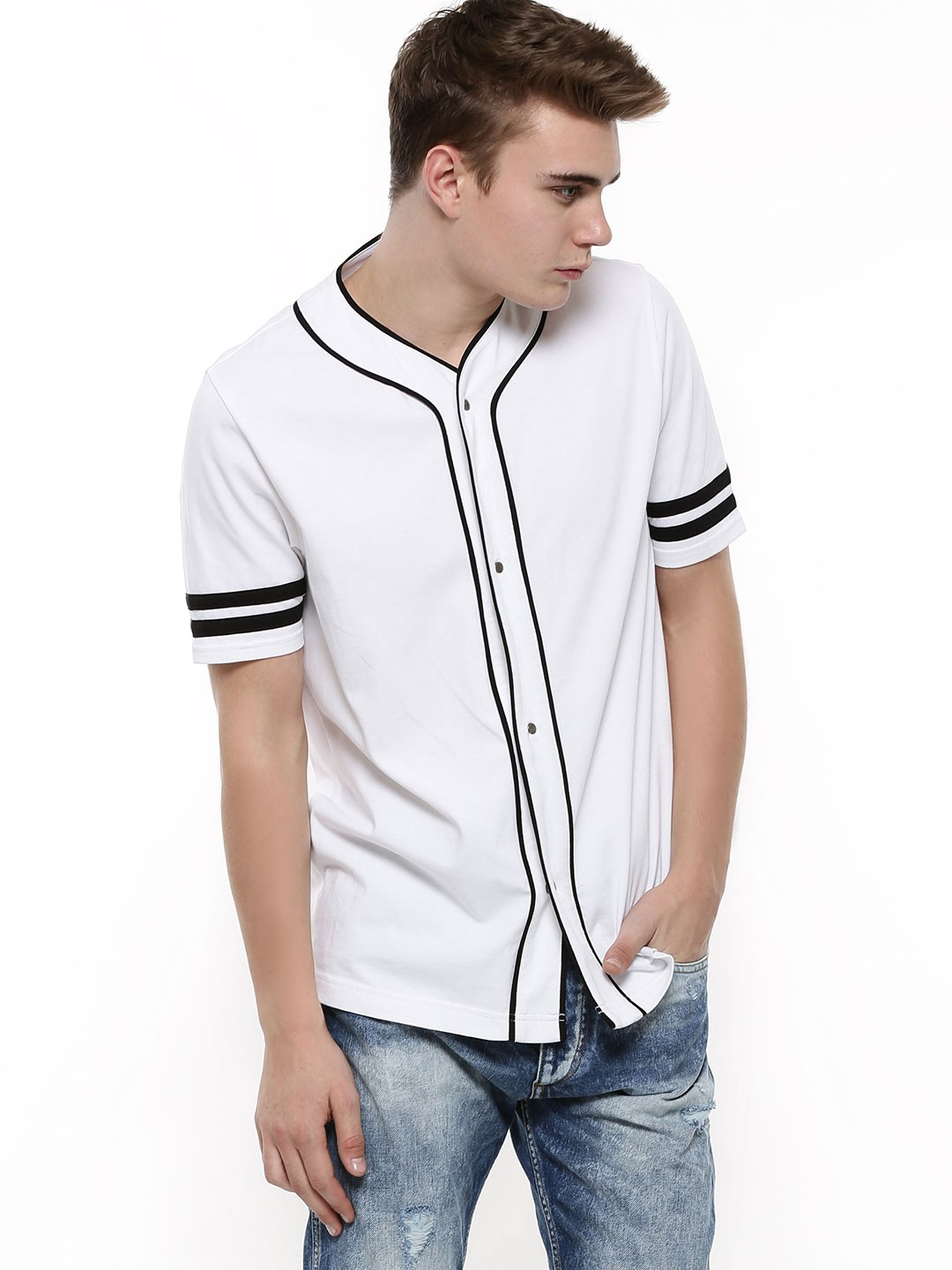 Buy Koovs Button Through Baseball T Shirt For Men Men 39 S