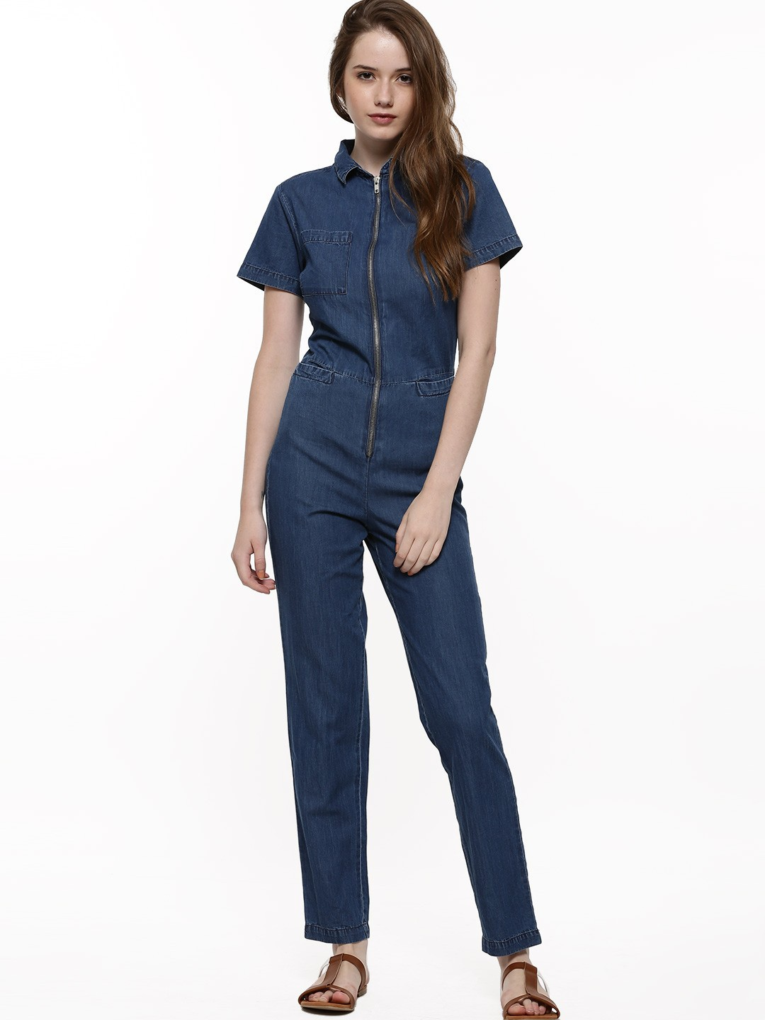 80e15e10e77d Buy KOOVS Zip Front Pocket Denim Jumpsuit For Women – Women s Blue .