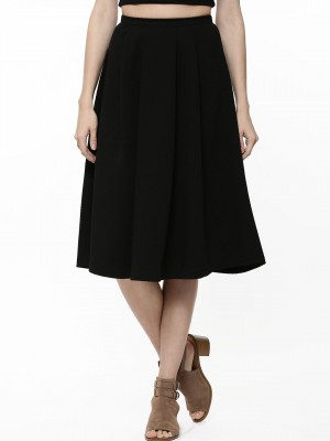 Buy NEW LOOK Waffle Texture Midi Skirt For Women - Women's Black ...