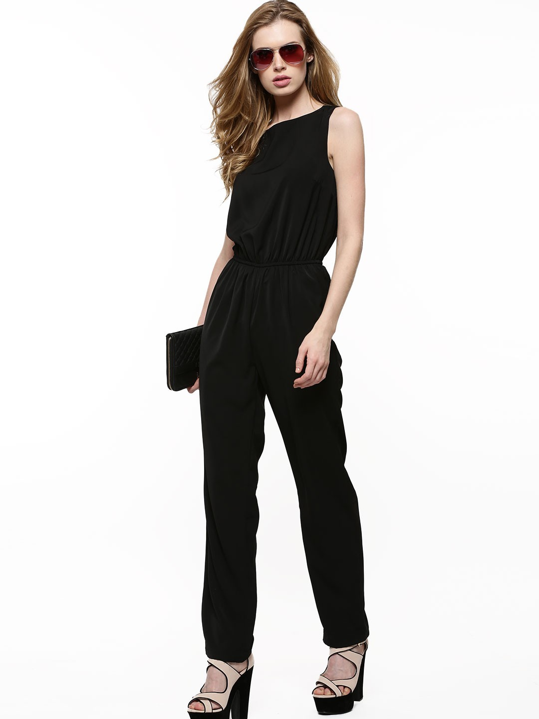 buy vero moda elasticated waist jumpsuit for women women 39 s black jumpsuits online in india. Black Bedroom Furniture Sets. Home Design Ideas