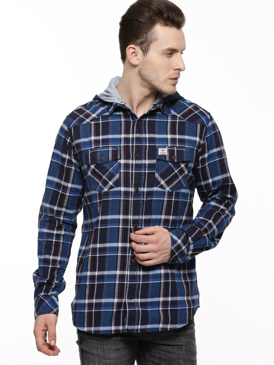 Buy Poe Structured Check Shirt With Detachable Hood For
