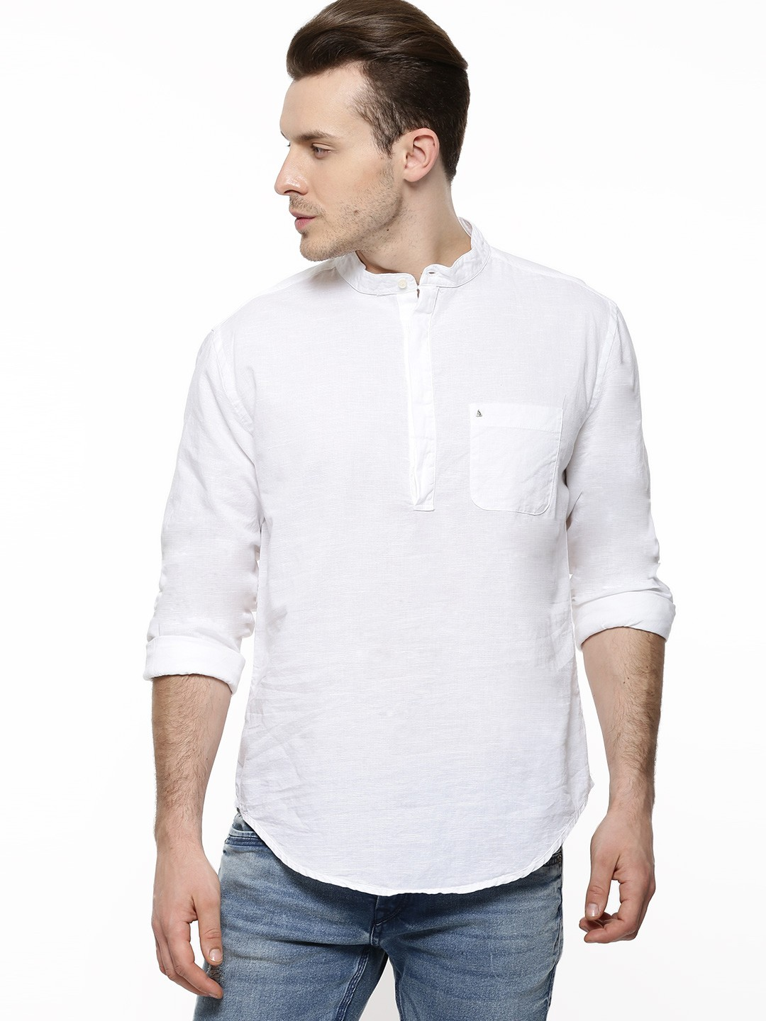 buy poe linen casual shirt with mandarin collar for men