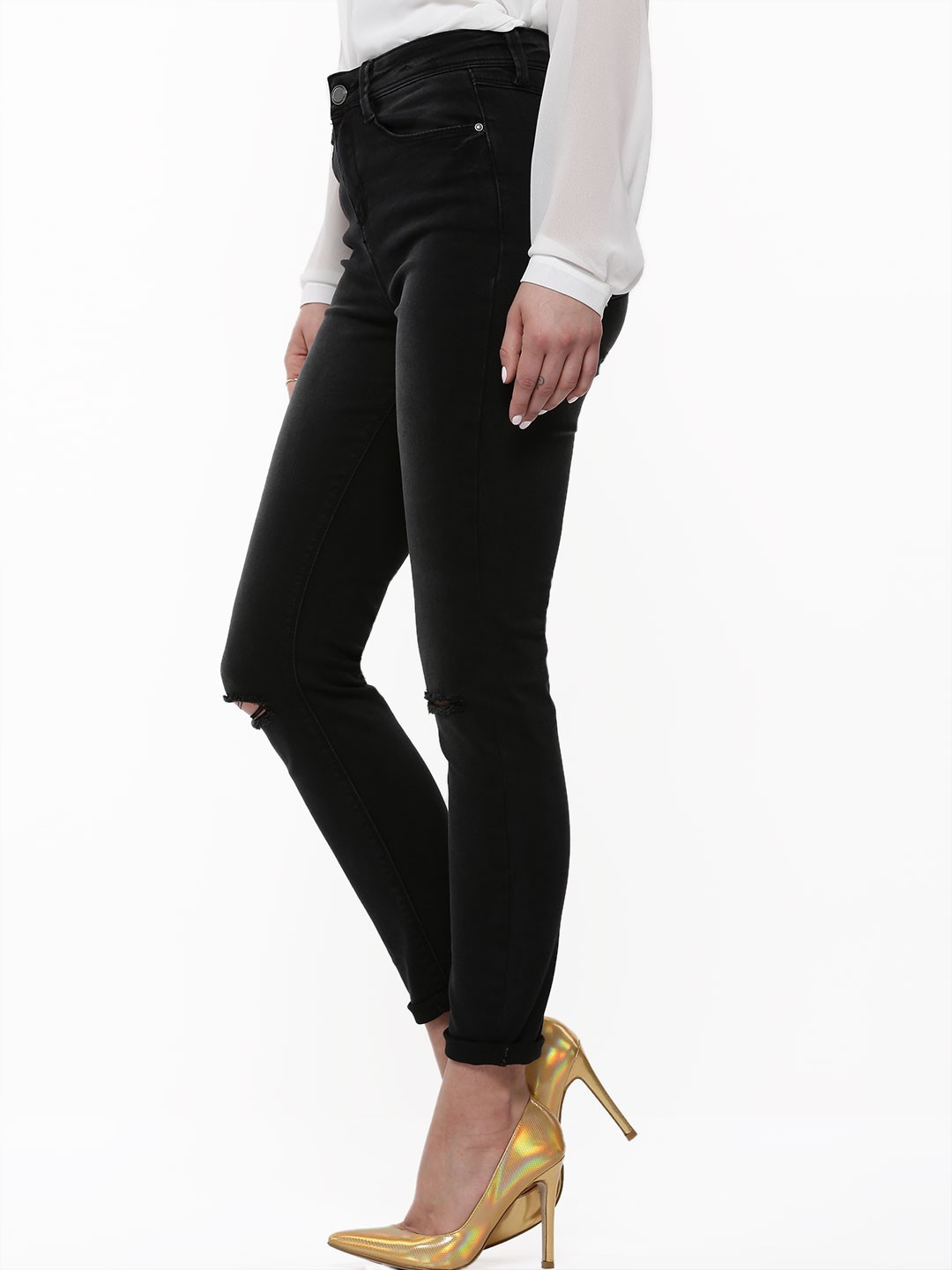 buy new look washed skinny jeans with knee rips for women women 39 s black skinny jeans online in. Black Bedroom Furniture Sets. Home Design Ideas
