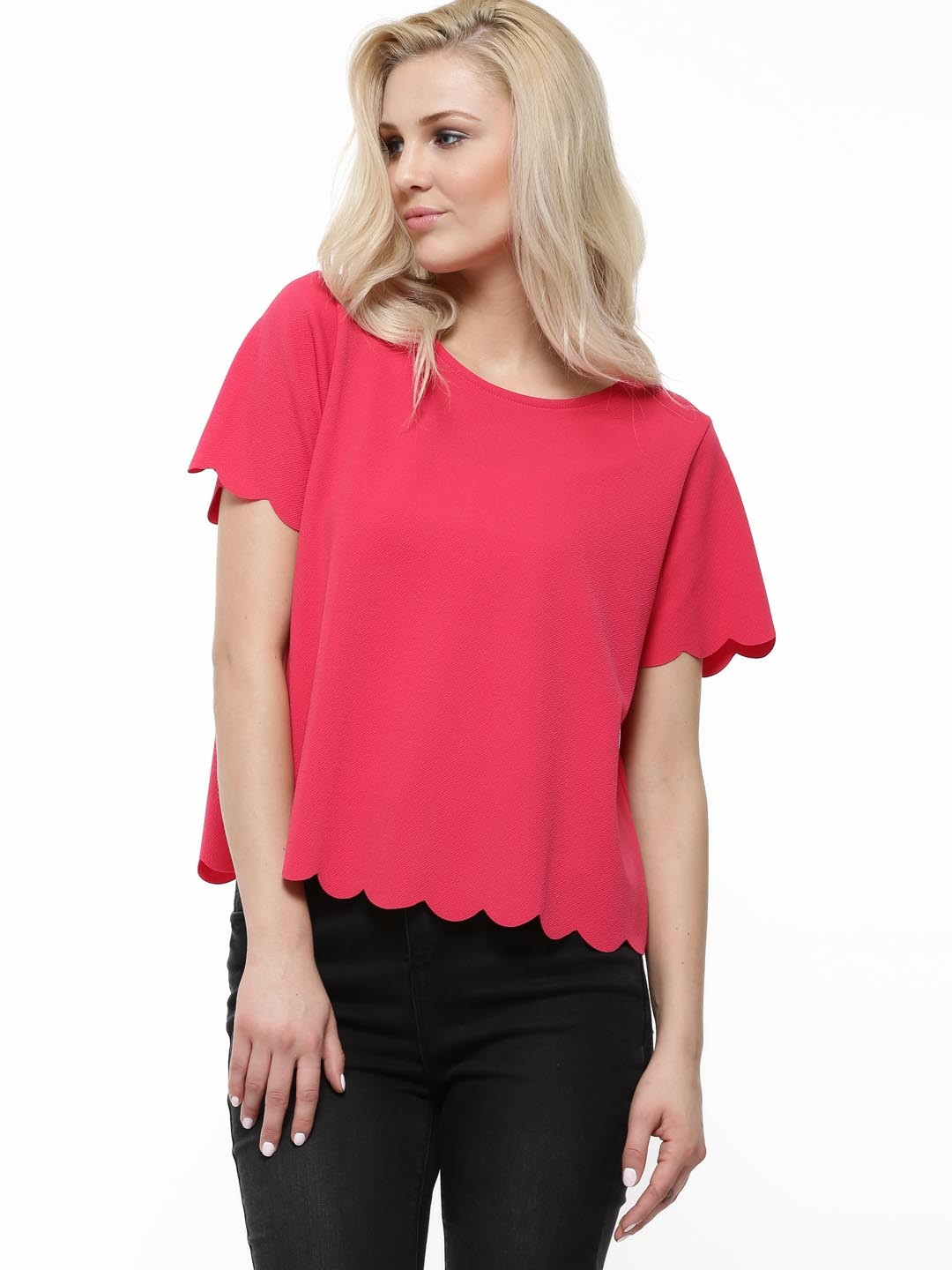 Buy new look scallop hem jersey top for women women 39 s for Coral t shirt womens