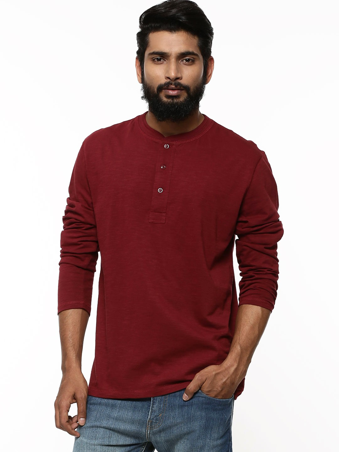 Buy levi 39 s solid henley collar t shirt for men men 39 s red for Mens collared henley shirt