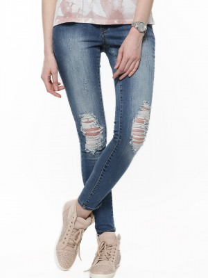 Buy VERO MODA Ripped Denims For Women - Women's Blue Skinny Jeans ...