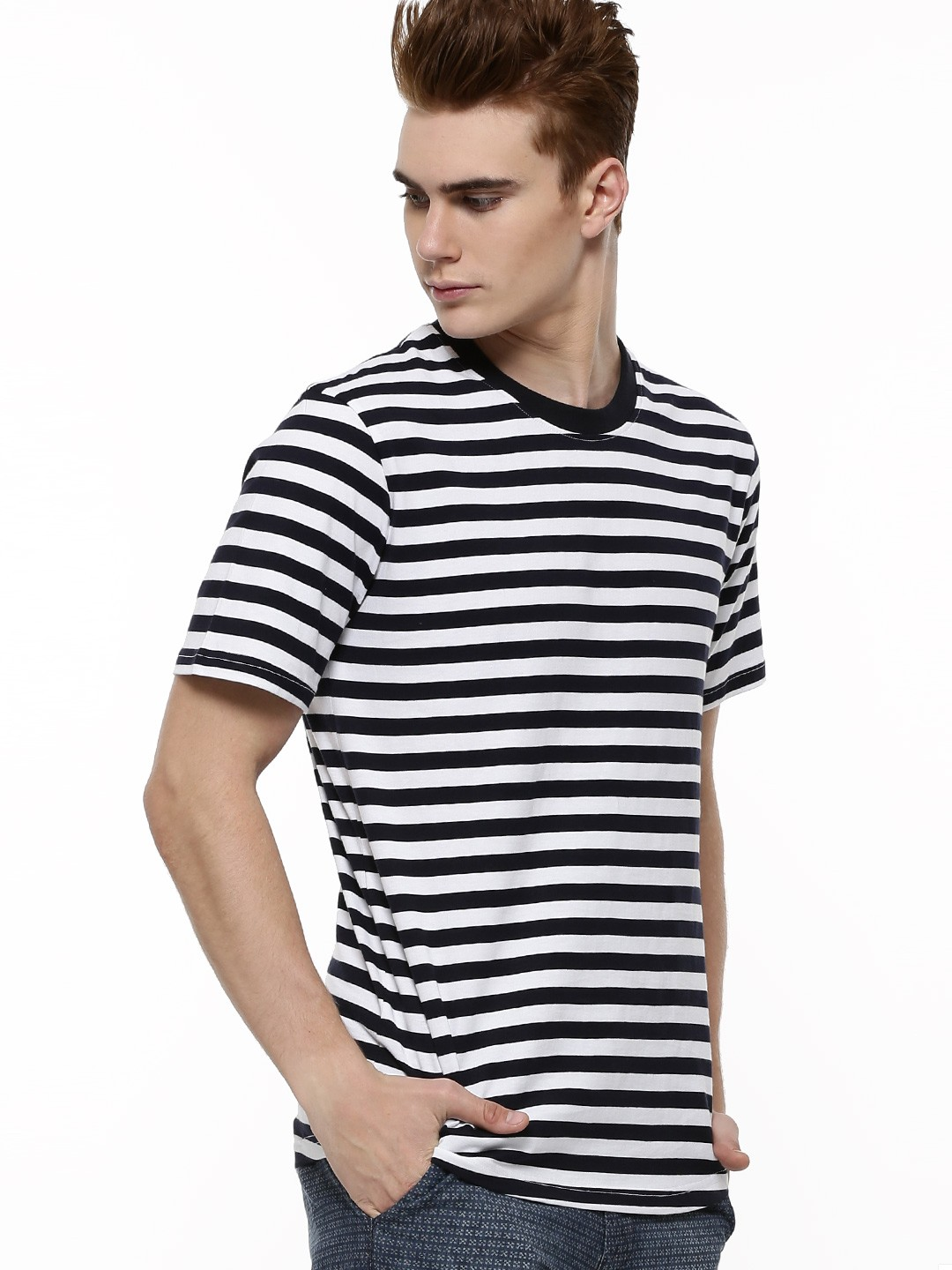 Buy BROWN BOY Stripe Crew Neck T-Shirt For Men - Men's Black White ...