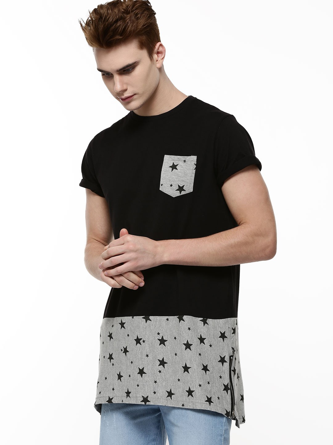 Black t shirt buy online - Spring Break Longline Printed T Shirt Side Zips