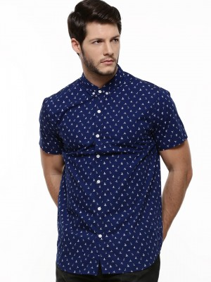 Buy KOOVS Mini Nautical Print Shirt For Men - Men's Navy Smart ...