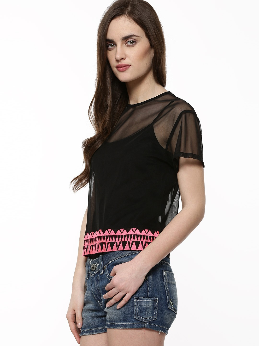 Buy Rena Love Floral Print Peplum Top For Women: Buy RENA LOVE Sheer Top With Tribal Border For Women