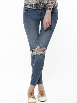 Buy VILA Skinny Ripped Jeans For Women - Women's Medium Blue Denim ...