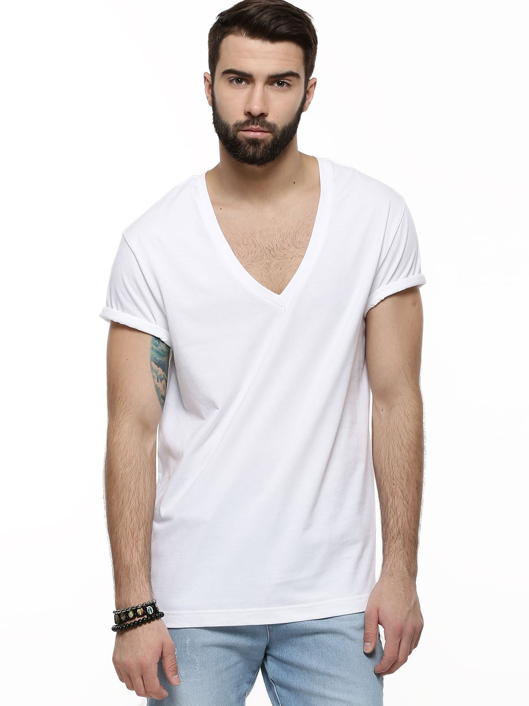 Buy koovs deep v neck t shirt for men men 39 s white t for Tahari t shirt mens