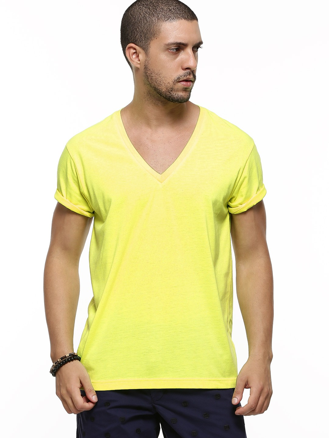 Buy Koovs Deep V Neck T Shirt For Men Men 39 S Yellow Multi