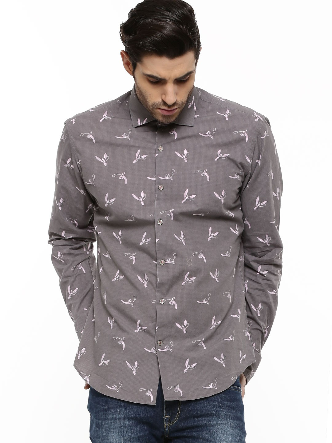 Buy rare rabbit butterfly micro gingham over print shirt for Buy men shirts online