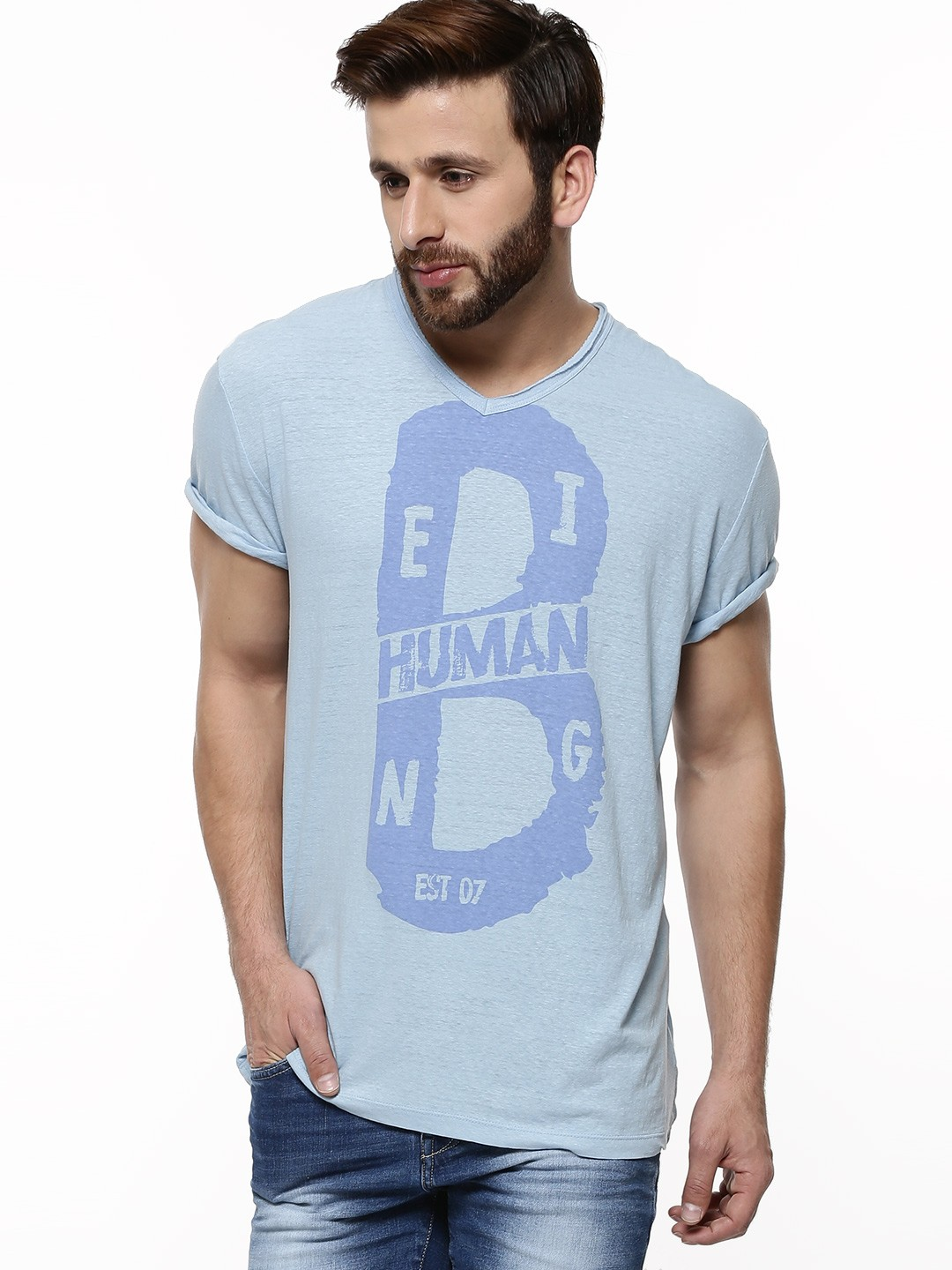 Buy being human graphic print t shirt for men men 39 s blue for Buy being human t shirts online