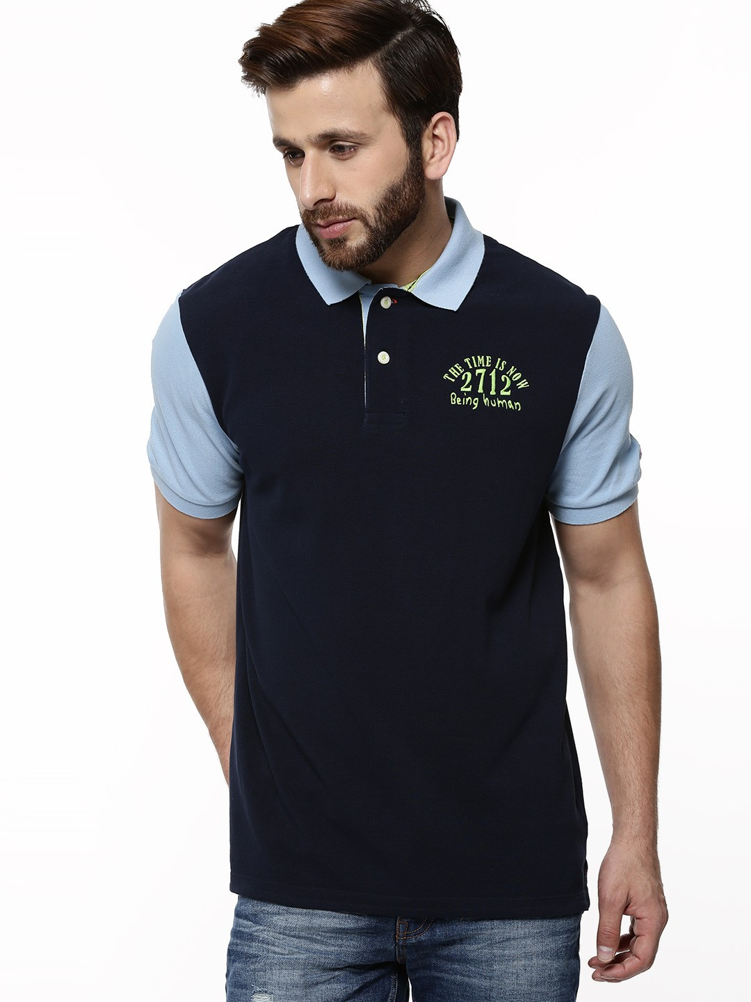 Buy being human contrast sleeves polo shirt for men men for Being human t shirts buy online india