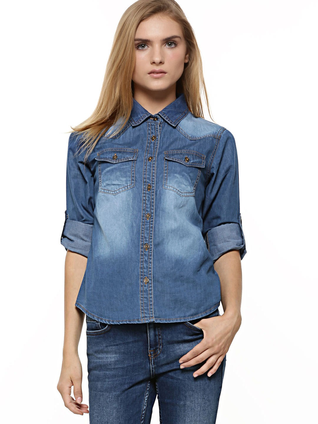 Buy koovs dark wash denim shirt for women women 39 s blue for Blue denim shirt for womens