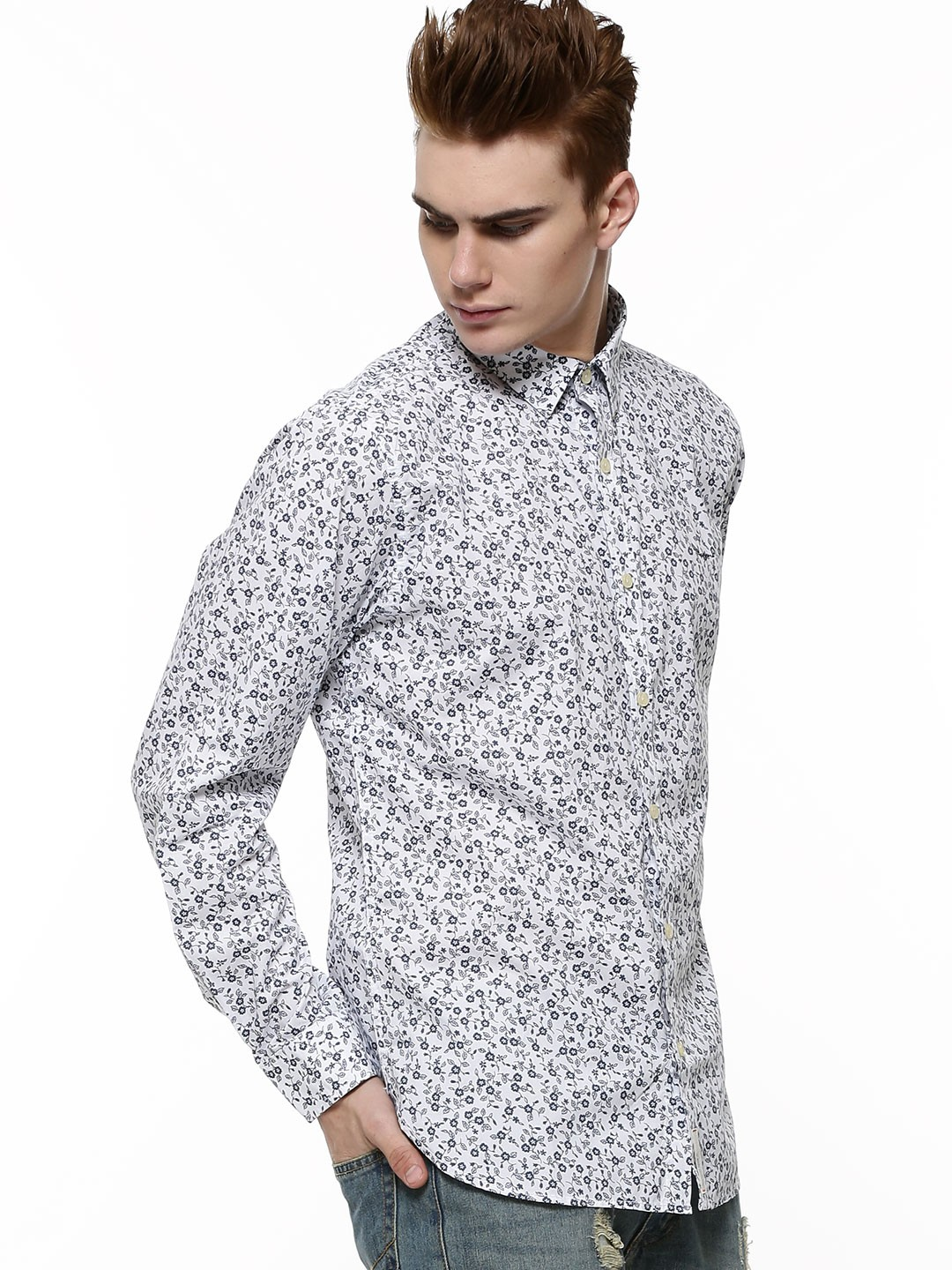 Buy pepe jeans all over floral print slim shirt for men for Mens white floral shirt
