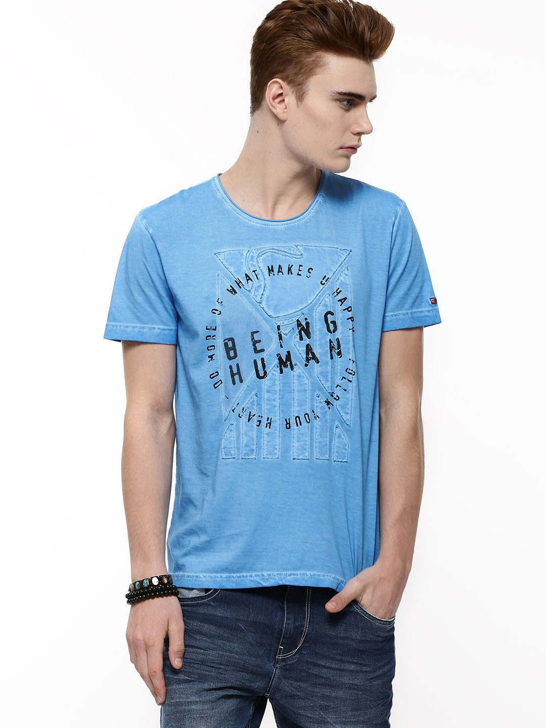 Buy being human front print t shirt in oil wash for men for Being human t shirts buy online india
