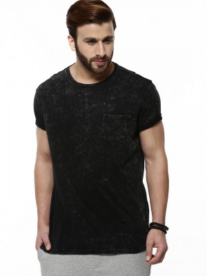 Buy BRAVE SOUL Acid Wash T-Shirt For Men - Men's Black T-shirts ...