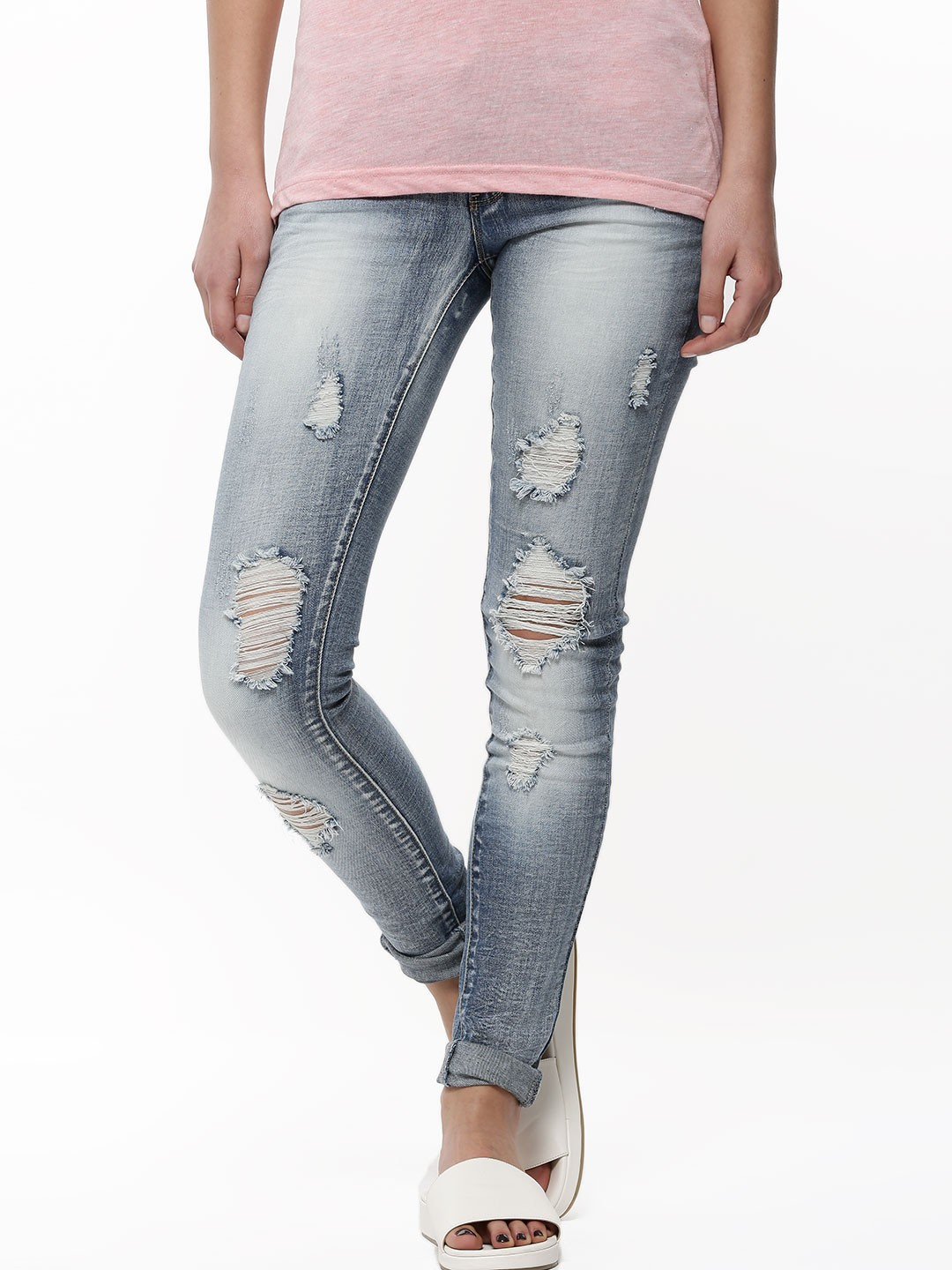 Buy ONLY Ripped Skinny Jeans For Women - Women's Blue Ripped Jeans ...