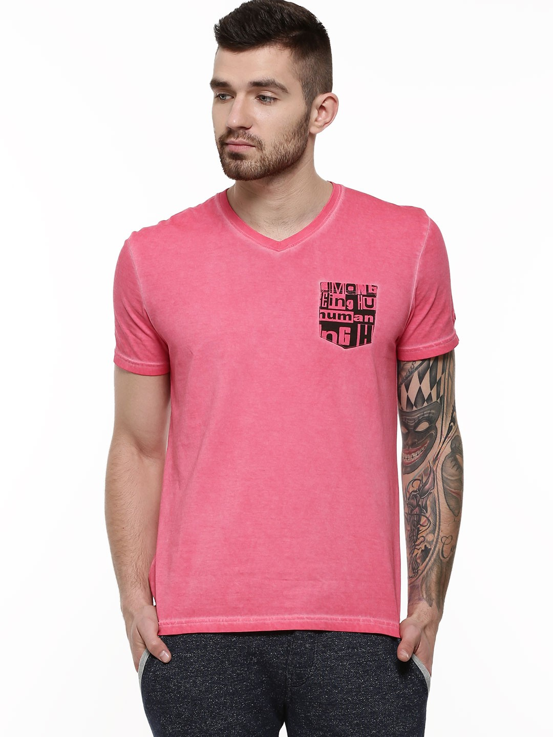 Buy being human oil wash t shirt with contrast pocket for for Being human t shirts buy online india