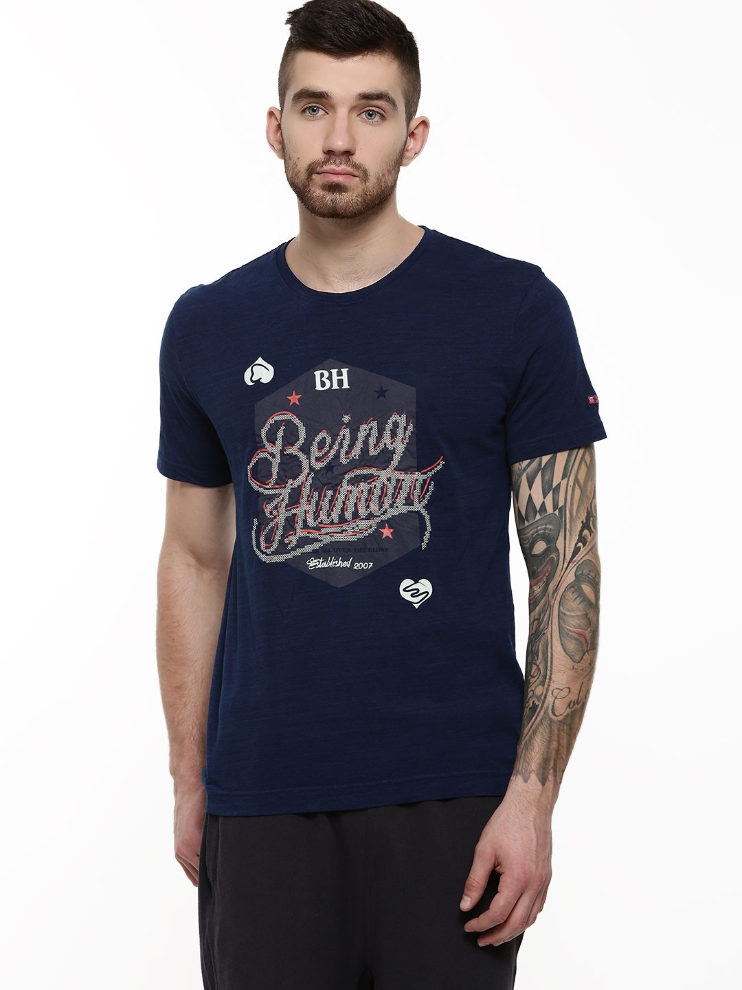 Buy being human graphic print crew neck t shirt for men for Being human t shirts buy online india