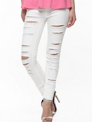 Buy VILA Distressed Skinny Jeans For Women - Women's White Skinny ...