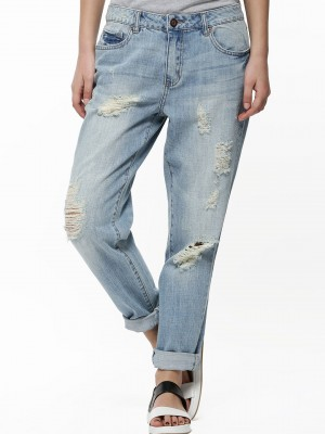 Buy VILA Ripped Boyfriend Jeans For Women - Women's Blue Straight ...