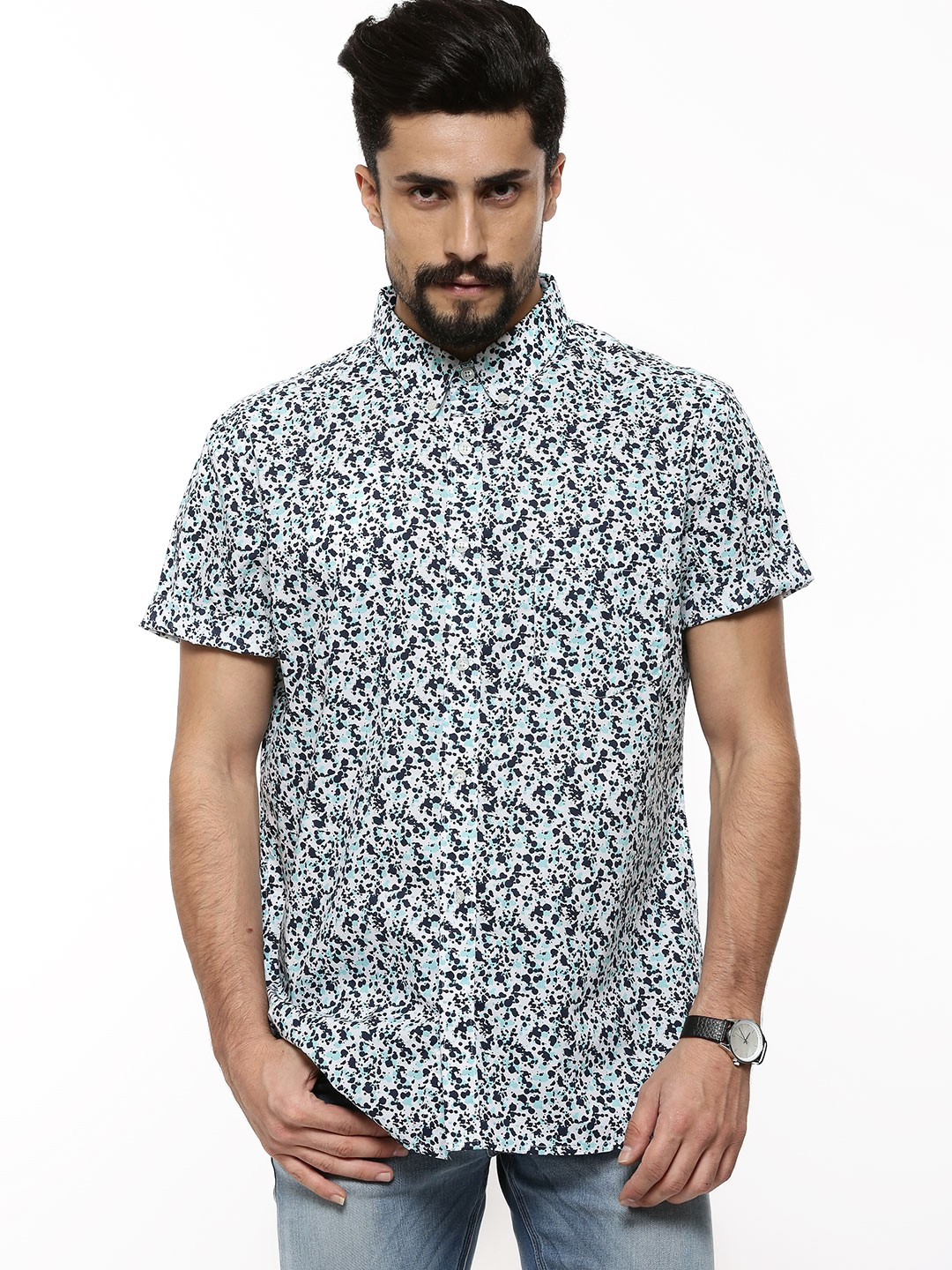 Buy french connection pollock print button down shirt for for Where to buy button down shirts
