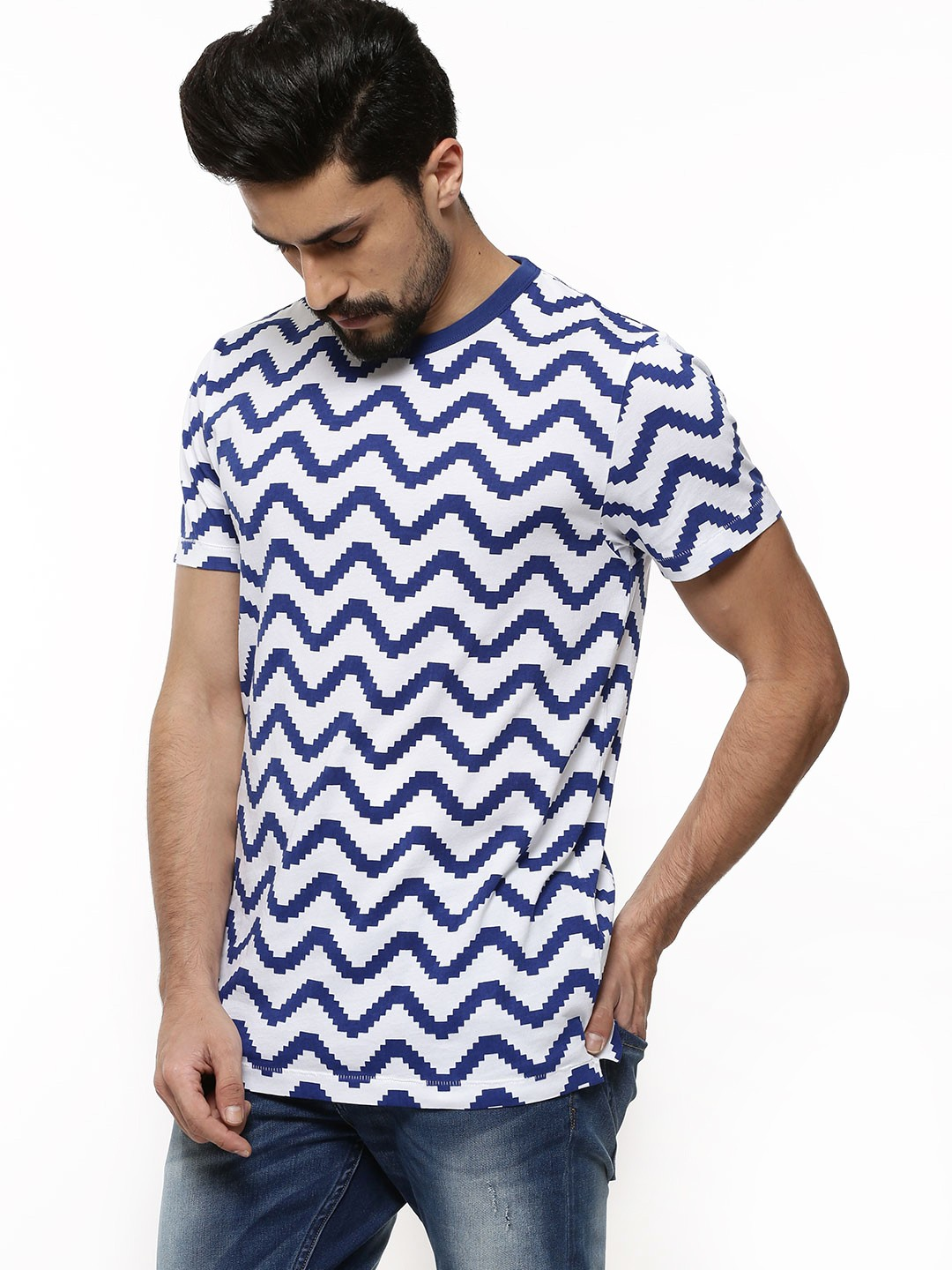 Buy french connection geo herringbone t shirt for men for French blue t shirt