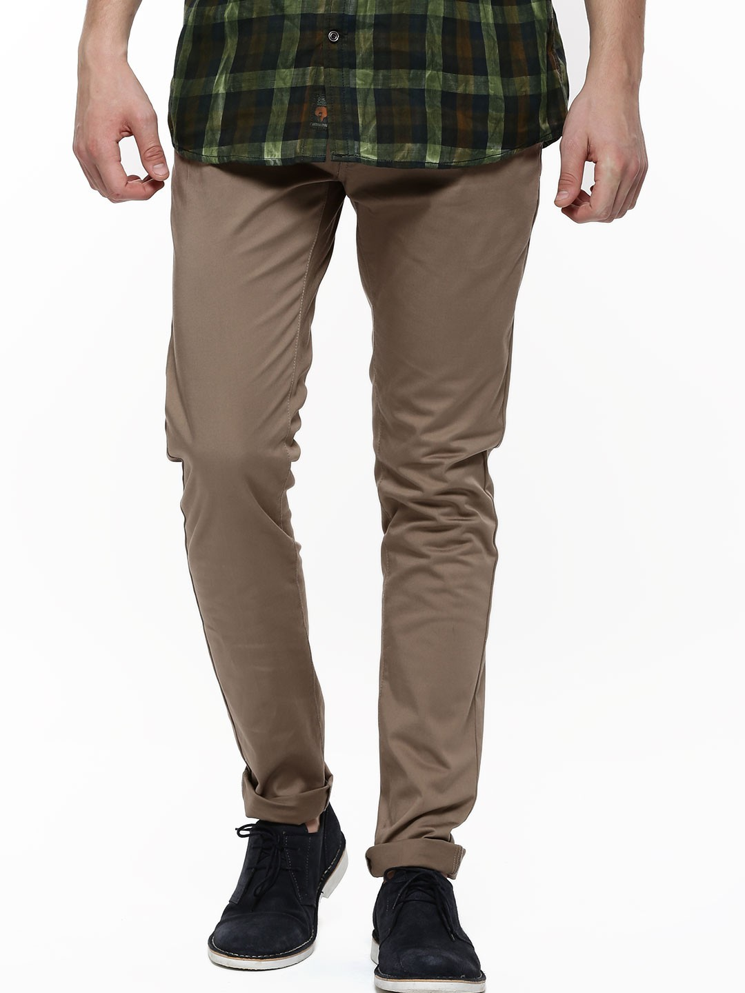 buy selected homme skinny fit chinos for men men 39 s brown chinos online in india. Black Bedroom Furniture Sets. Home Design Ideas