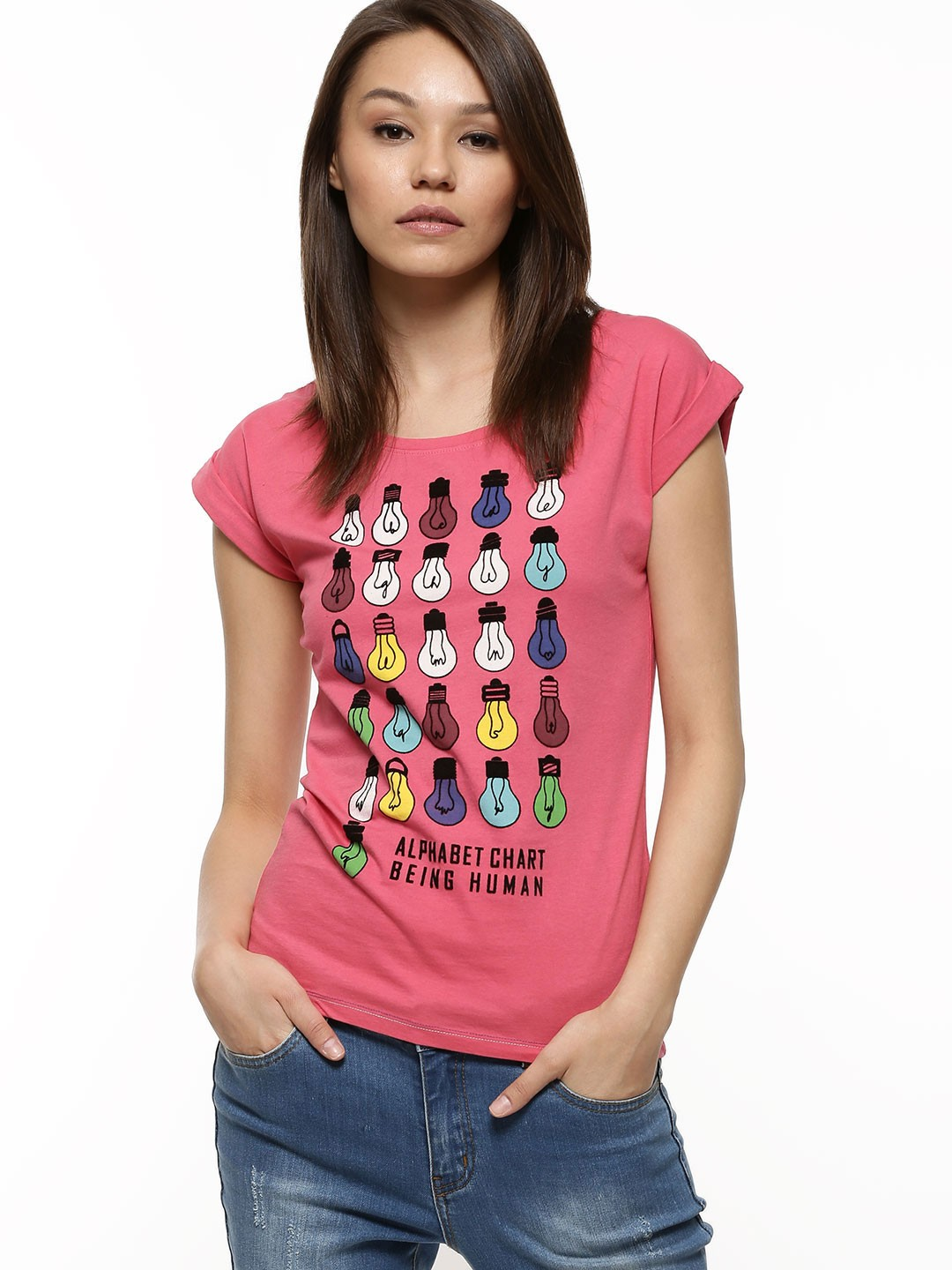 Buy being human graphic print t shirt for women women 39 s for Being human t shirts buy online india