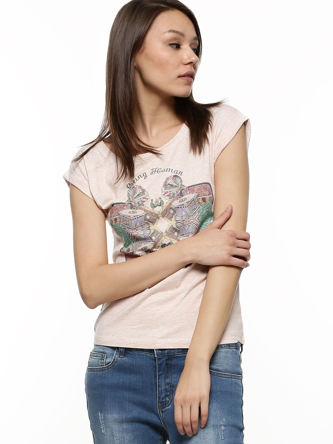 Buy being human printed t shrit for women women 39 s peach for Being human t shirts buy online india