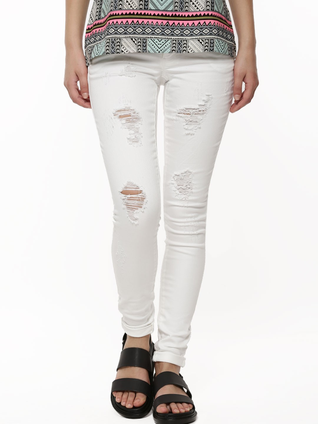 Buy ONLY Super Low Ripped Jeans For Women - Women's White Ripped ...