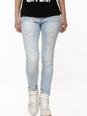 Buy ONLY Ripped Skinny Denims For Women - Women's Blue Ripped ...