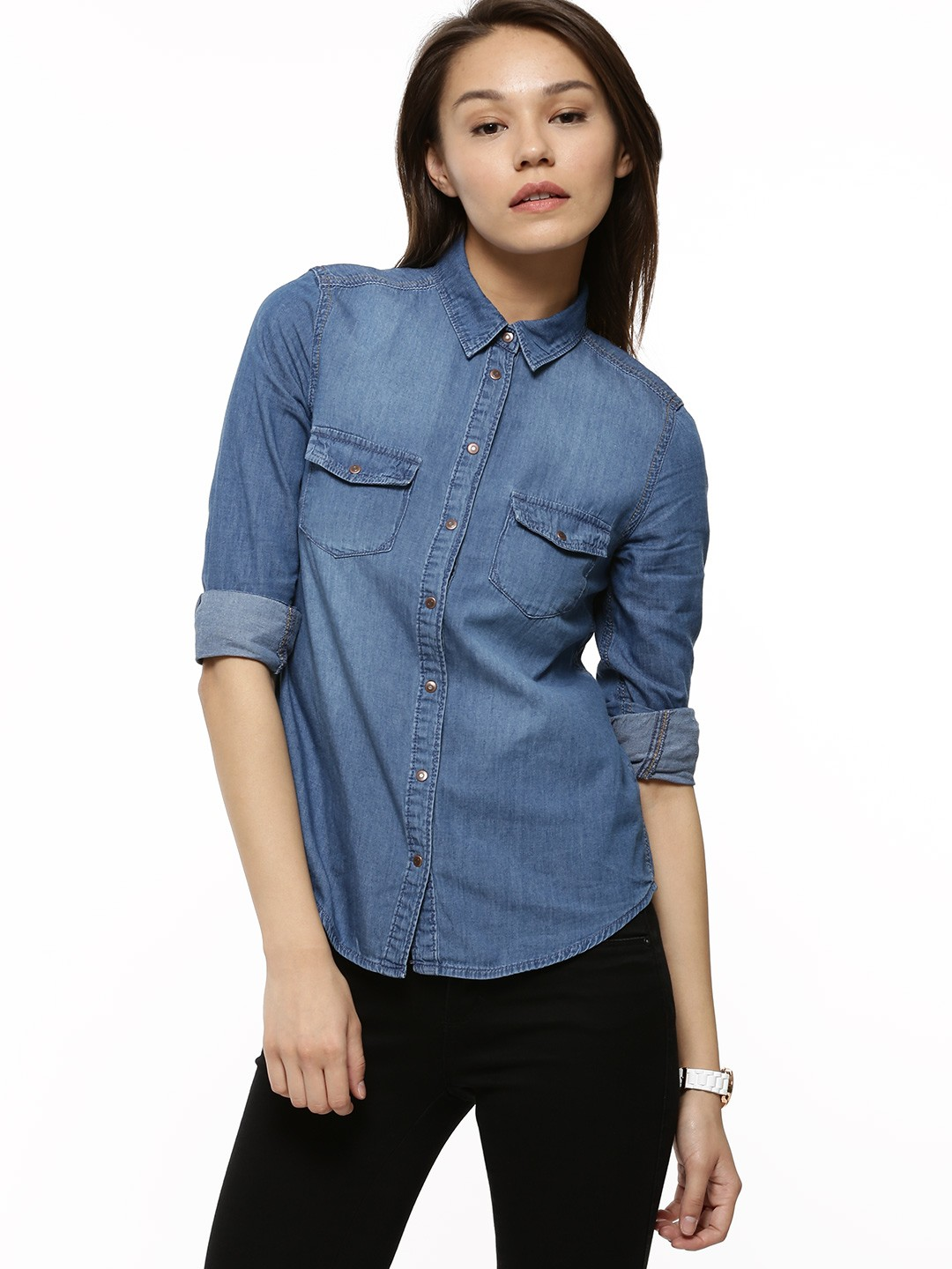 buy new look classic denim shirt for women women 39 s blue