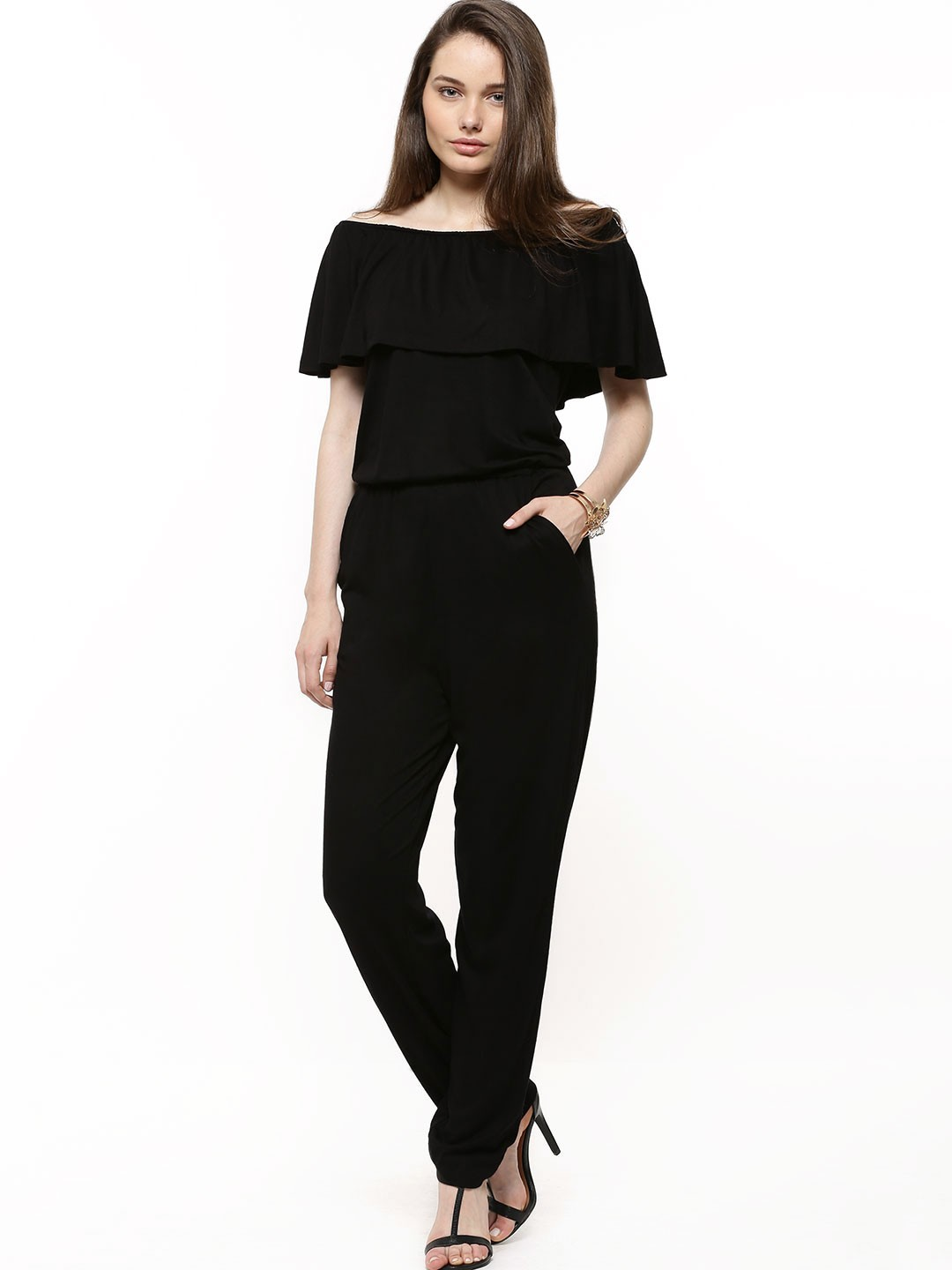 Buy KOOVS Double Layer Off Shoulder Jumpsuit For Women - Womenu0026#39;s Black Jumpsuits Online In India