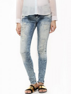 Buy ONLY Ripped Denims For Women - Women's Blue Ripped Jeans ...