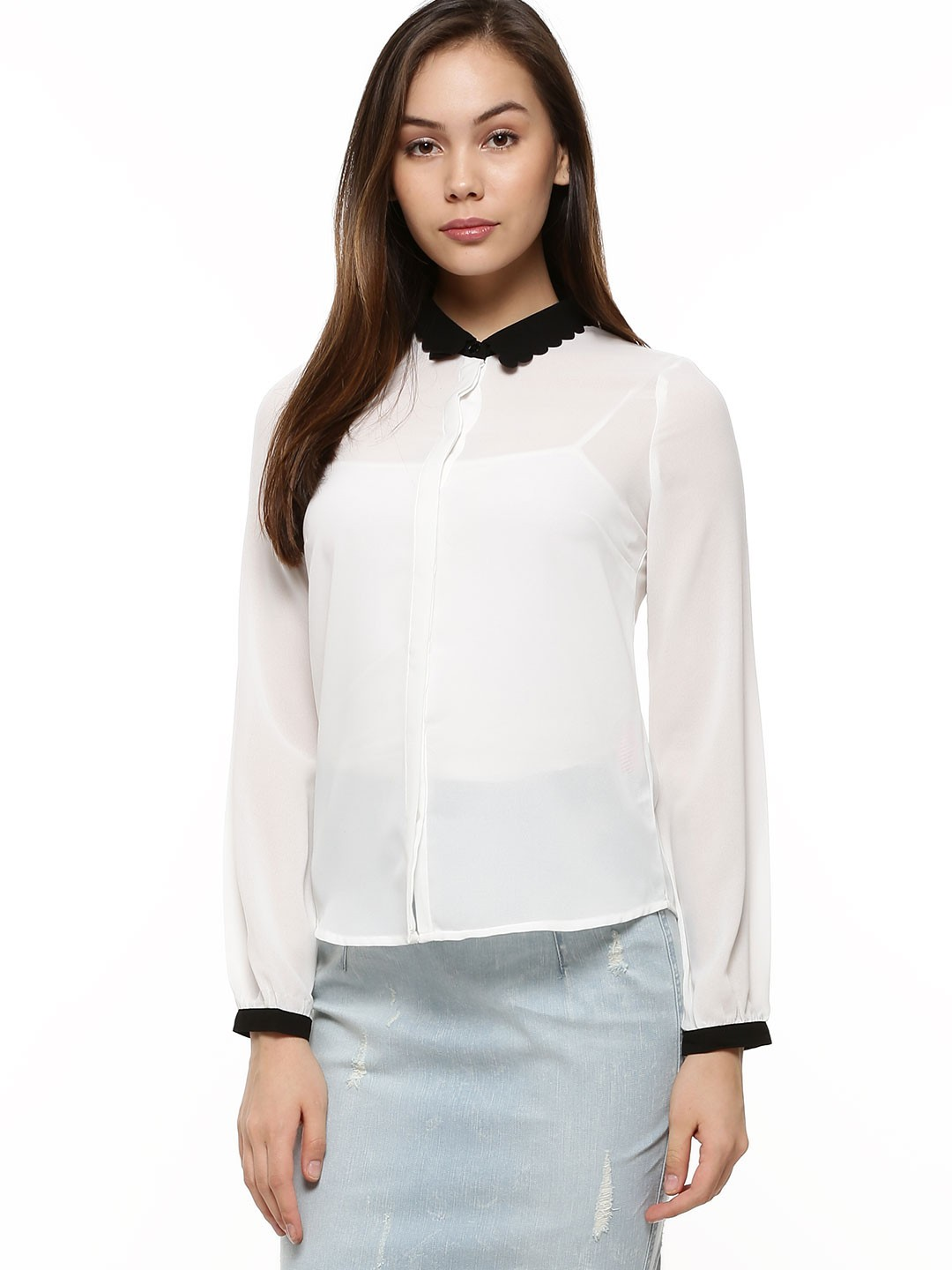 Buy VERO MODA Contrast Collar Shirt For Women - Women's White ...