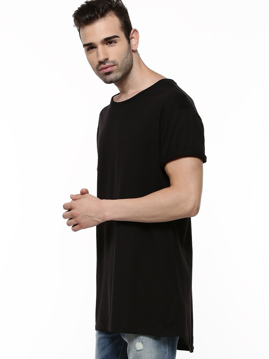 Black t shirt buy online - New Look Basic Longline T Shirt