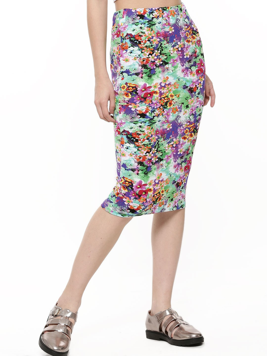 buy koovs bright floral pencil skirt for s