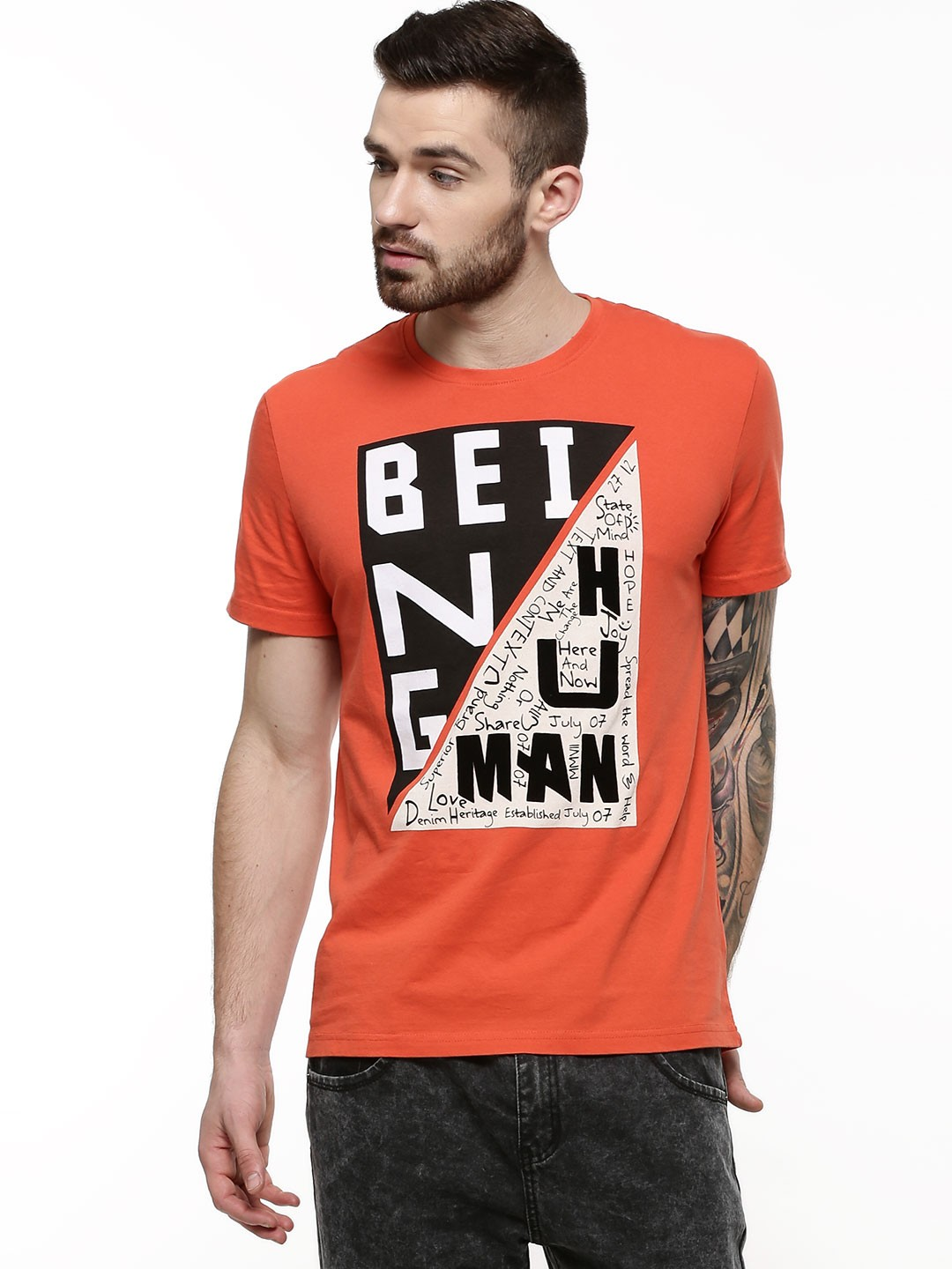 Buy being human printed front t shirt for men men 39 s for Being human t shirts buy online india